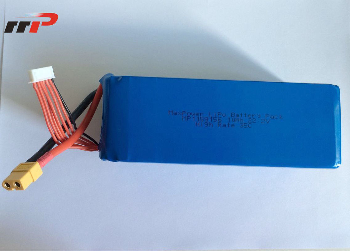 22.2 Volt 35C battery lithium polymer Uav Drone High Rate 10Ah Capacity